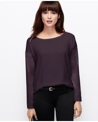 Ann Taylor Woven Front Long Sleeve Top - Lyst