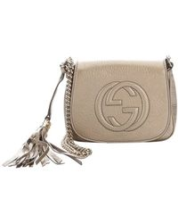 Gucci Champagne Leather Soho Chain Shoulder Strap Bag - Lyst
