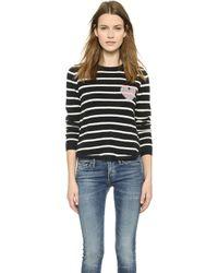 Chinti & Parker Striped Heart Cashmere Sweater - Navy/Cream - Lyst