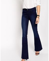 Asos Bell Flare Jeans In Deep Blue - Lyst