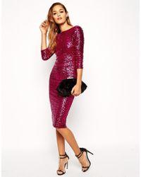 Asos Sequin Cowl Back Midi Dress - Lyst