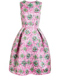 Mary Katrantzou Embellishment Printed Satin Dress - Lyst