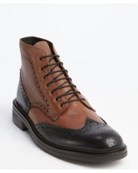 Ben Sherman Brown And Black Tooled Leather Wingtip 'Finley' Ankle Boots - Lyst