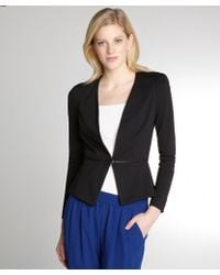 Rebecca Taylor Black Ponte Zip Bottom Blazer - Lyst