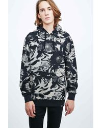 Worland - All-over Rose Print Hoodie In Black - Lyst