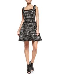 Milly Piper Sleeveless Fit  Flare Dress Blackivory 0 - Lyst