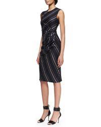 Adam Lippes Striped Gathered-waist Dress - Lyst