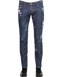 DSquared² 18Cm Slim Fit Bleached Wash Denim Jeans - Lyst