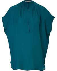 Vince Draped Silk Blouse - Lyst