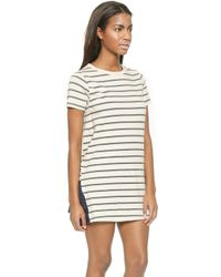 CLU Striped Ruffled T-Shirt Dress - Navy - Lyst