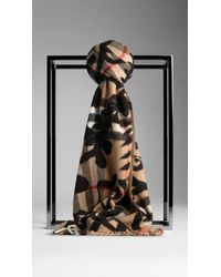 Burberry Floral Overprint Check Cashmere Scarf - Lyst