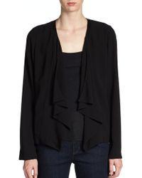 Eileen Fisher Leather-Trimmed Silk Jacket - Lyst
