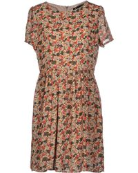Cutie Beige Short Dress - Lyst