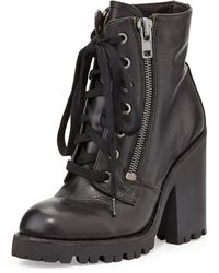 Ash Poker Leather Moto Boot - Lyst