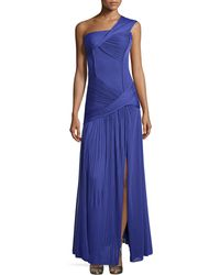 Halston Heritage Ruched One-Shoulder Gown - Lyst