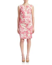 Adrianna Papell Floral Print Sheath Dress pink - Lyst
