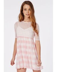 Missguided 2 Piece Mesh Swing Dress Pink Gingham - Lyst