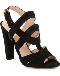 Sergio Rossi Suede Slingback Sandals black - Lyst
