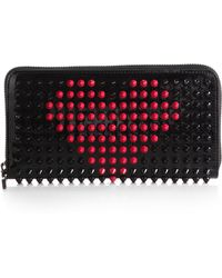 Christian Louboutin Panettone Studded Valentine Patent Leather Wallet red - Lyst