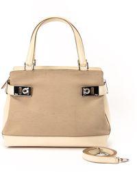 Ferragamo Beige Handbag - Lyst
