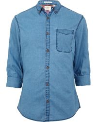 River Island Blue Cross Denim Shirt - Lyst