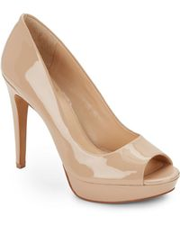 Vince Camuto Janeese Patent Leather Peep Toe Pumps - Lyst