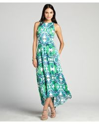 Cynthia Steffe Green and Blue Floral Printed Sydney Long Dress - Lyst