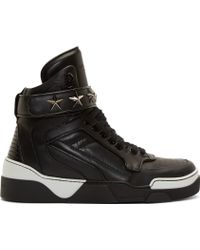 Givenchy - Black And White Leather Tyson High_top Trainers - Lyst