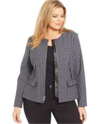 Jones New York Signature Plus Size Plaid Zip-Front Jacket black - Lyst