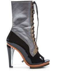 Rodarte - Metallic Leather Lace Up Boot With Lucite Wedge - Lyst