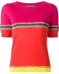 Alberta Ferretti Shortsleeved Colour Block Sweater - Lyst