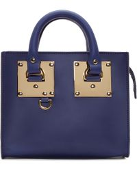 Sophie Hulme Navy Leather Box Tote Bag - Lyst