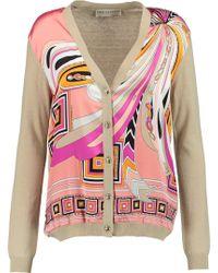 Emilio Pucci - Stretch Silk-paneled Wool And Cotton-blend Cardigan - Lyst