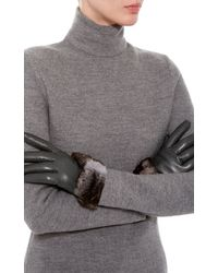 Imoni - Lambs Leather Gloves With Fur Bow - Lyst