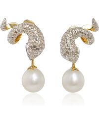 Gioia - Gold And Diamond Serpent Earrings With Pearl Drop - Lyst
