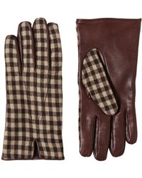 Etro - Nappa Leather Gingham Wool Gloves - Lyst
