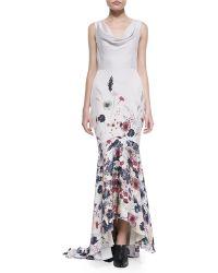 Haute Hippie Floralprint Draped Mermaid Gown - Lyst