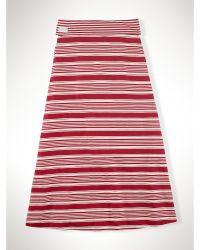 Ralph Lauren Striped Fold-Over Maxi Skirt - Lyst