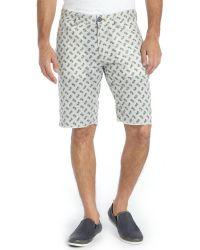 Howe Grey Linen Blend Printed Reversible Hands Down Bike Shorts - Lyst