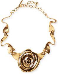 Oscar de la Renta Golden Rose Necklace - Lyst