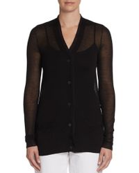 Vera Wang Illusion Cotton Silk Cardigan - Lyst