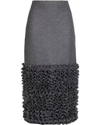 Ruban - Straight Grey Wool Skirt with Ruched Hem - Lyst