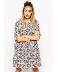 Reclaimed (vintage) Asos Smock Dress In Tile Print With Tie Back - Lyst