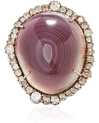 Kimberly Mcdonald One Of A Kind Rounded Agate and Irregular Diamond Ring - Lyst