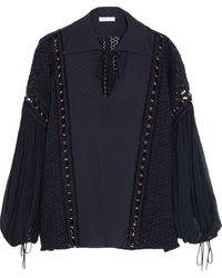 Chloé Silk-Chiffon And Guipure Lace Top - Lyst