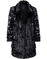 Anna Sui Sequined Faux Fur Coat - Lyst