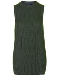 TOPSHOP - Sleeveless Cable Crew Tabard Jumper - Lyst