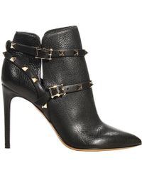 Valentino Ankle Boots Heel 10 Rockstud Boot Leather With Studs - Lyst
