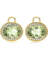 Kiki McDonough | Oval Green Amethyst & Diamond Earring Drops | Lyst