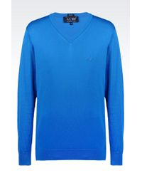 Armani Jeans V-Neck Jumper In Cotton - Lyst